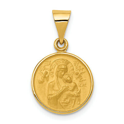 14k Yellow Gold Solid Our Lady Of Perpetual Help Round Medal Pendant 23x13mm