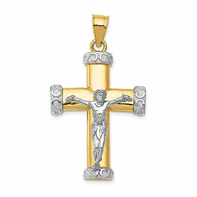 New small Solid 14k  yellow Gold Cross Pendant 1 inch long