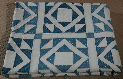 Antique Blue and White Cotton Patchwork Quilt Hand Quilted and Hand Pieced 67x86