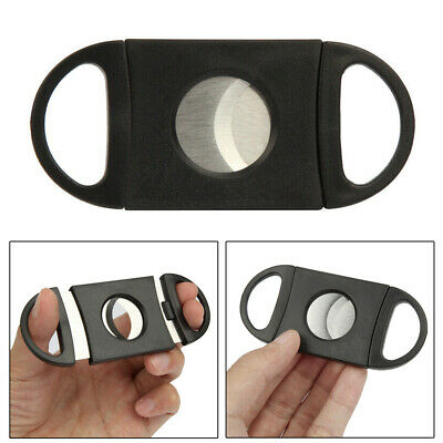 Stainless Steel Cigar Cutter Double Blades Scissors Shears Black Tool Acces