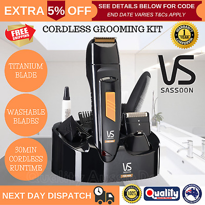 Mens Cordless Groomer Rechargeable Body Shaver Trimmer Nose Ear Hair VS Sassoon