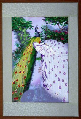 "Chinese big embroidery painting birds flowers peacock 30x20"" hand-made art"