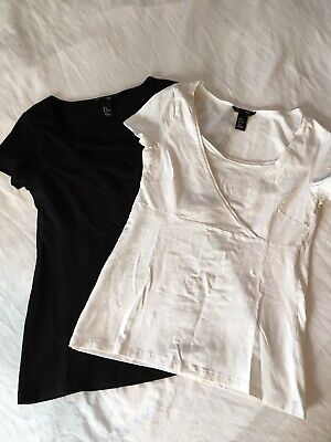 fd7e58e1524 Black And White Maternity/Nursing Tops By H&M (Lot of 2 Shirts) size