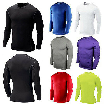 Mens Compression Top Long Sleeve Shirt T-Shirt Gym Wear Under Skins Base Layer