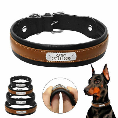 Real Genuine Leather Personalized Dog Collar Padded for Large Dogs Pit Bull K9