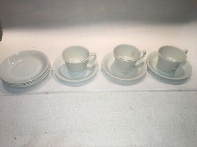 3 ARABIA Finland Mid Century Modern Porcelain White Demitasse Cups & 7 Saucers