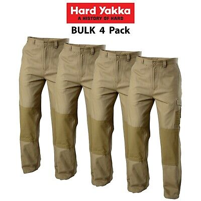 Mens Hard Yakka Legends Light Weight Cotton Pants 4 Pk Tough Cordura Work Y02906
