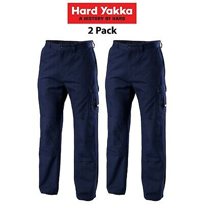 Mens Hard Yakka Legends Light Weight Cotton Pants 2 Pk Tough Cordura Work Y02906
