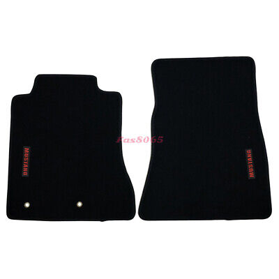 Fits 15-18 Ford Mustang Floor Mats Front Nylon Black w/ Red Mustang Embrodery