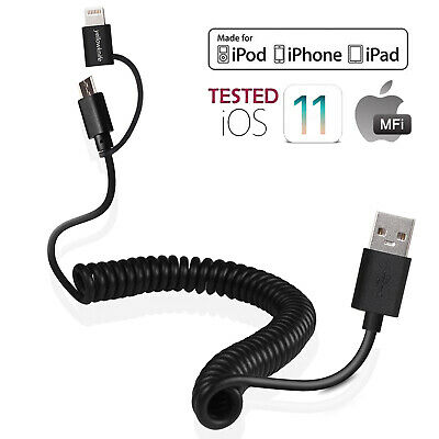 Multiple Charge Cable MFI Certified, 2 in 1 Lightning & Micro USB Coiled Cable