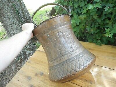 Large Beautiful Antique Copper Pail Water Pot Engraved Persian Middle East