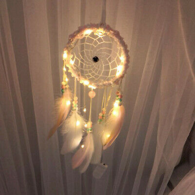 LED Dream Catcher Feather Dreamcatcher Girl Birthday Gift Baby Room Decor Pink