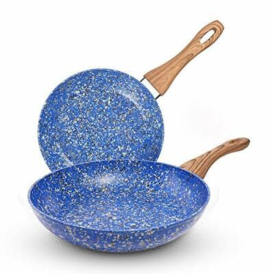 MICHELANGELO 2pcs Granite Frying Pan with Lid, Nonstick Stone Frying Pan