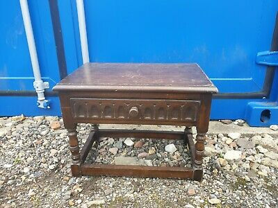 Vintage Carved Oak Old Charm Small Table With Drawer - Good Condition