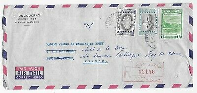 L2879 Costa Rica San Jose AIR MAIL REGISTERED COVER TO FRANCE