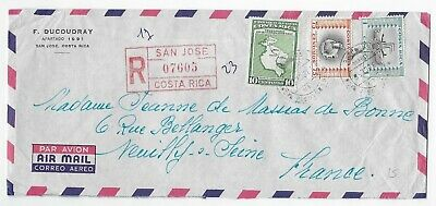 L2880 Costa Rica San Jose AIR MAIL REGISTERED COVER TO FRANCE MAPS