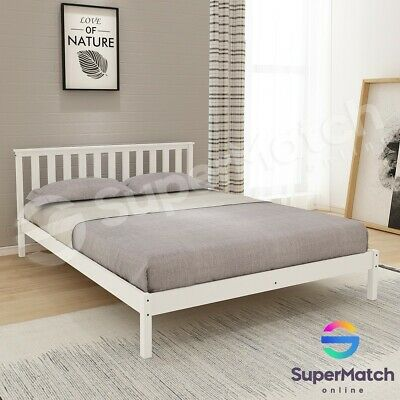 Double Size Wooden Bed Frame White Pine Mattress Base Timber Bedroom Furniture