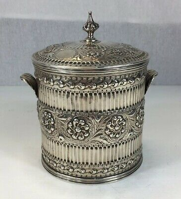 Antique 1756 Georgian Solid Silver Embossed Biscuit Barrel Canister (Re-Marked)