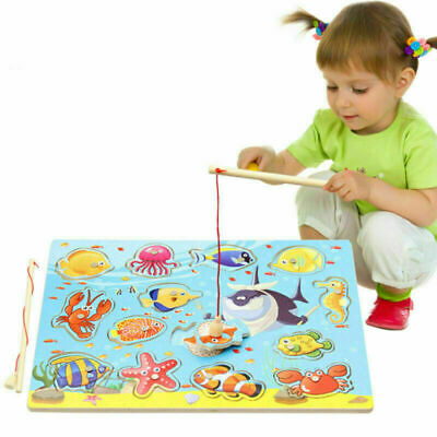 3D Wooden Magnetic Fishing Game & Jigsaw Puzzle Board Children Educational Toy