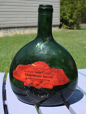 Vtg Klingenberger Rotwein Glass Bottle Wine Germany Paper Label Green Squat Old