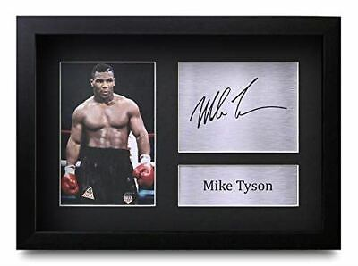 HWC Trading FR Mike Tyson Gift Signed FRAMED A4 Printed Autograph Boxing Gifts P