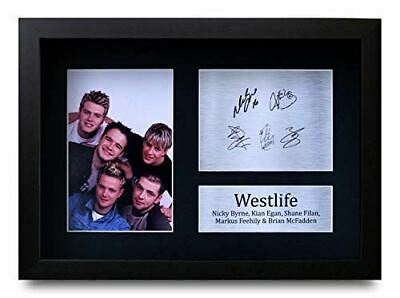 HWC Trading FRAMED Westlife Signed A4 Printed Autograph Music Gift Print Photo P