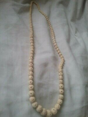 Large Vintage Bovine Bone Carved Bead necklace