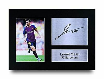 HWC Trading Lionel Messi Gift Signed A4 Printed Autograph Barcelona Gifts Photo