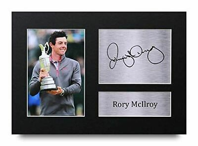 HWC Trading Rory McIlroy Gift Signed A4 Printed Autograph Golf Gifts Photo Displ