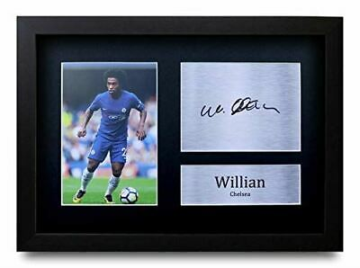 HWC Trading Willian Gift Signed FRAMED A4 Printed Autograph Chelsea Gifts Print