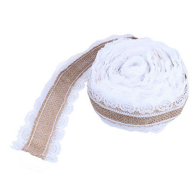 10M Natural Jute Burlap Lace Ribbon Roll Vintage Wedding Party Decoration Newly