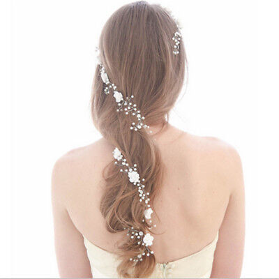 Chic Pearl Flower Wedding Hair Vine Bridal Bridesmaid Diamante Headband 1M