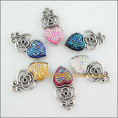 12 New Flower Heart Resin Mixed Charms Tibetan Silver Tone Pendant 14x28.5mm