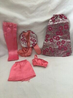 Vintage Barbie Doll Get Ups N Go PARTY SEPARATES Pink Satin SILVER BROCADE 7841