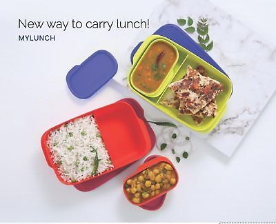 New Tupperware My Lunch Set Of Two With Liquid Carry Container Kids Rakhi Gift