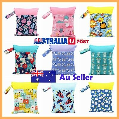 Medium Waterproof Wet Bag Double Zip Nappy 30x37cm Baby Reusable Nappies Swimmer