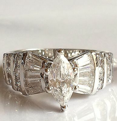 Silver Marquis Cut Engagement Ring Vintage Cubic Zirconia Rhodium Plated Size 12
