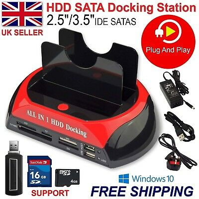 2.5″ 3.5″ Dual Hard Drive HDD Docking Station USB Dock Card Reader IDE SATA UK