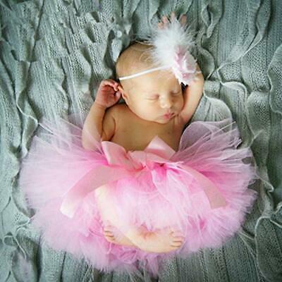 Hifot Newborn Baby Photography Prop Outfits, Infant Tutu Skirt with Headband Set