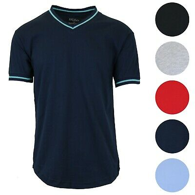 Mens Short Sleeve V-Neck Tee Slim-Fit Trim Color Lounge Summer Casual Cotton NEW