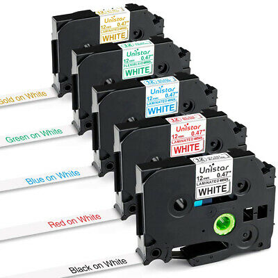 5x Compatible with TZe P-Touch Brother Label Tape 12mm Black/Red/Blue/Green/Gold