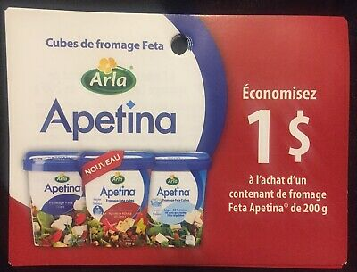 Lot of 10 x 1.00$ Arla Apetina Products Coupons Canada