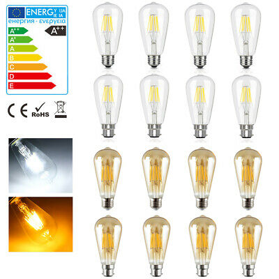 E27 B22 4W 6W 8W Vintage Industrial Filament LED Light Lamps Squirrel Cage Bulb
