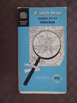 "Ordnance Survey 2.5"" Map ST91 Tollard Royal 1961 Tannant Hinton Ashmore Sixpenn"