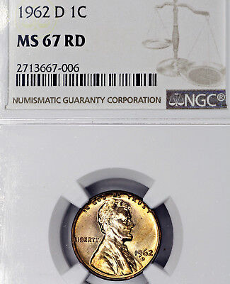 1962-D MS67 Red RD Lincoln Memorial Cent 1c, NGC Graded!