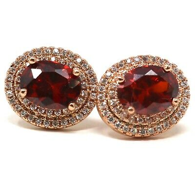 Unique Hand Carved Red Ruby Earrings Nickel Free Jewelry Gift Rose Gold Plated