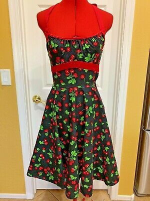 New Pinup Couture Anna White Cherry Sundress X-Small XS Rockabilly 50s Cherries