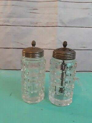 Antique Clear Cut Glass Metal Cap Salt and Pepper Shakers with Agitator