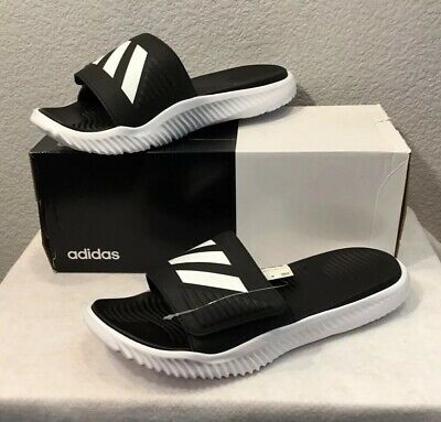 e4cfcabd4 New Adidas Alphabounce Slides/Sandals Black/White (BA8775) Men's Size 13