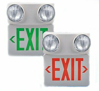 Emergency 2 Head LED Exit Sign & Emergency Light – RED Compact Combo 120/277VAC